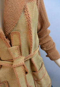 70s Suede Wrap Sweater// Leather Cardigan// 70s Sweater Jacket (F1)