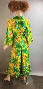 Vintage 60s Jumpsuit// Psychedelic Cotton Jumpsuit// 60s Wideleg Jumpsuit (F1)