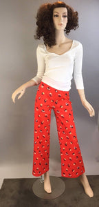 70s Polyester Bell Bottoms// Vintage Flowered Hippie Bell Bottoms// Brady Bunch 70s flared leg pants (F1)
