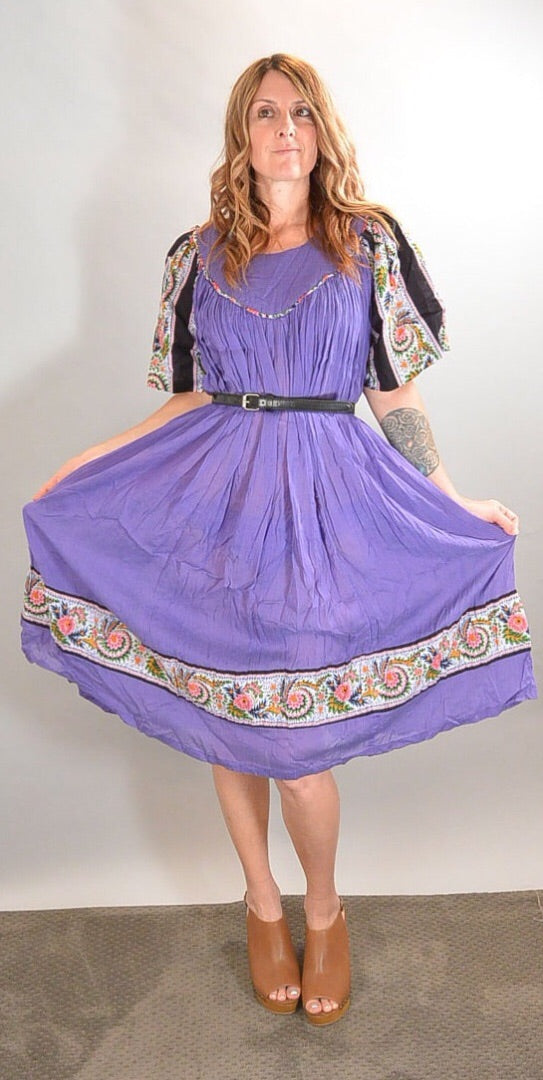 Purple Festival Dress// 60s Hippie Dress// Peasant Girl Dress (F1)