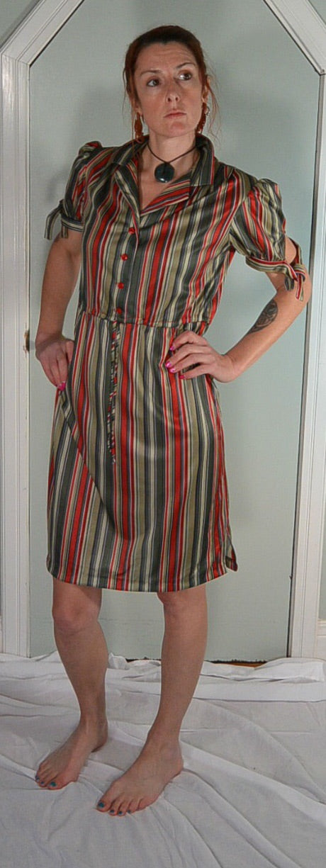 70s Secretary Dress//Striped Dress//Summer Dress//Polyester Dress//Disco Dress (F1)