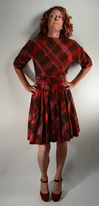 50s Dress// Plaid Dress// Swing Dress// Mad Men Dress// Small Dress (F1)