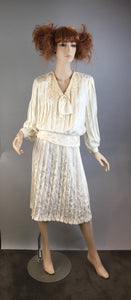 Vintage 80s Dynasty Day Wear// Silky Power Suit// Vintage Off White Blouse and Skirt Set (F1)