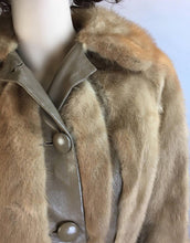 Vintage Fur and Leather Coat// 70s Mink Leather Jacket// Super 70s Groovy Coat (F1)