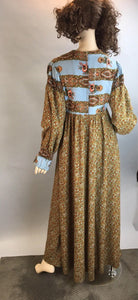 60s Festival Dress// Vintage Hippie Dress // Maxi Cotton Dress (F1)