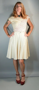50s Summer Lace Dress// 50s Dress Circle Skirt// Cotton Summer Dress (F1)