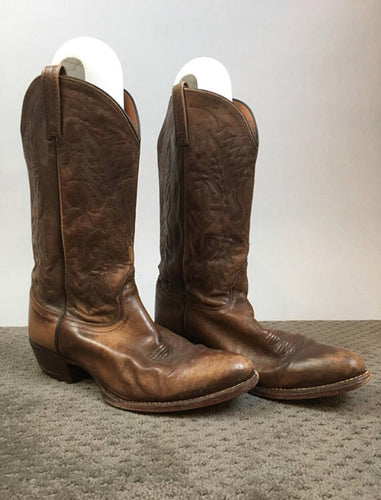 Mens Western Boots// Vintage Brown Leather Cowboy Boots// Mens Boots Size 9.5 (F1)