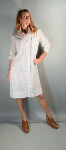 60s Mod Button Down Dress// Mod Shift Dress// 60s Comfortable Cotton Dress// Mod Dress Medium/Large (F1)