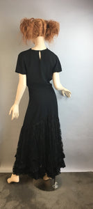 Vintage 40s Long Bias Cut Dress// Vintage Maxi 40s Dress// Formal Crepe Evening Gown (F1)
