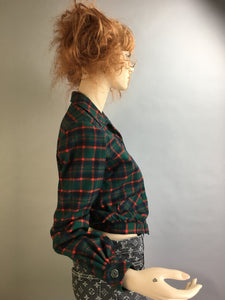 Vintage Green Plaid Jacket// Wool Bobbie Brooks Jacket// 60s Plaid Wool Jacket (F1)