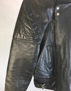Vintage 80s Motorcycle Jacket// Cafe Racer Style Motorcycle Jacket// Black Leather Biker Jacket (F1)