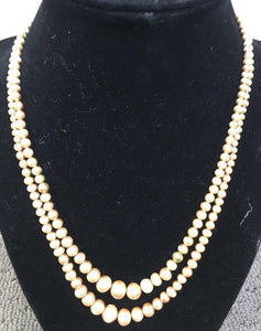 20s era vintage faux pearl necklace // 2 strand painted bead necklace from the 20s (F1)