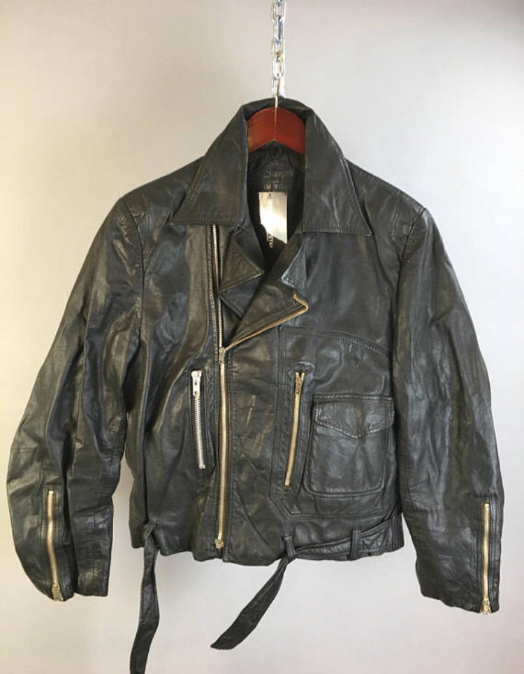 Vintage Leather Motorcycle Jacket Womens Large 70s