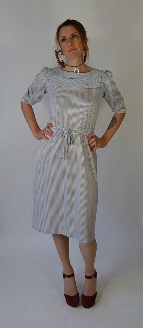 Striped Secretary Dress// 70s dress// 80s dress// librarian Dress// Disco Dress (F1)