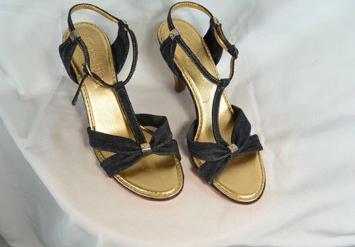 Denim Chanel Sandals// Designer Slingback Sandals// Adorable Summer Sandal (F1)