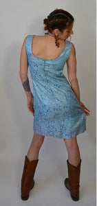 Brocade Baby Blue Prom Dress// 60s shesth Dress// Vintage 60s Dress (F1)