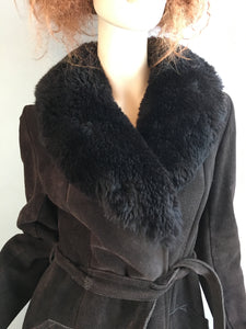 Vintage Faux Shearling Coat// 70s Shearling Maxi Coat// Penny Lane Suede and Faux Fur Coat (F1)
