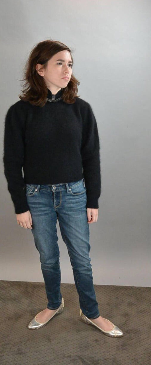 Soft Black Angora Sweater// 70s Angora Sweater// Rhinestone Studded Sweater Super Sexy Low Back (F1)