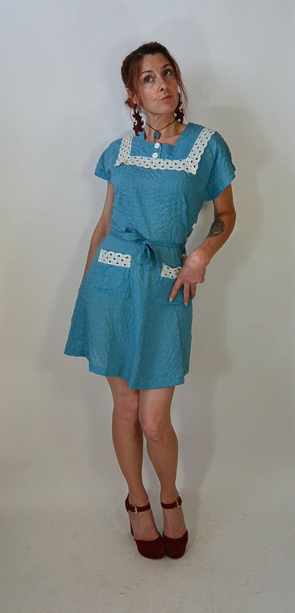 Vintage 50s House Dress/ Rockabilly// Turquoise Dress// Maids Dress// 50s Dress (F1)