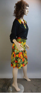 Mod Dress// 60s Mod Flower Dress// Butterfly Collar Dress XL (F1)