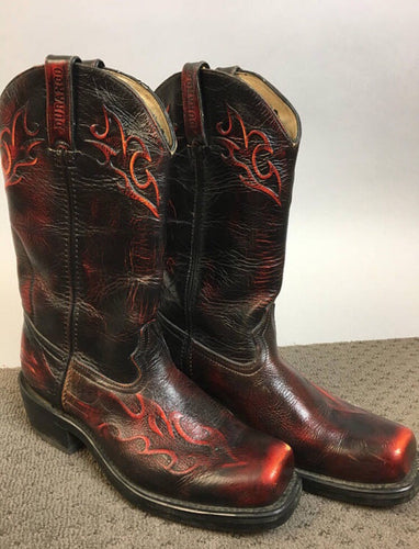 Vintage Durango Cowboy Boots// Western Boot with Flames// Urban Cowboy Boots (F1)
