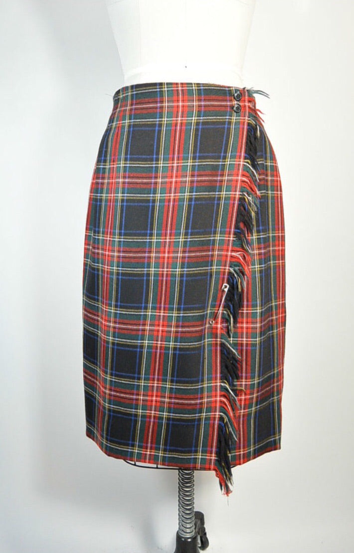 Plaid 80s Skirt// Kilt Skirt// Wool Plaid School Girl Skirt// Large XL Skirt (F1)