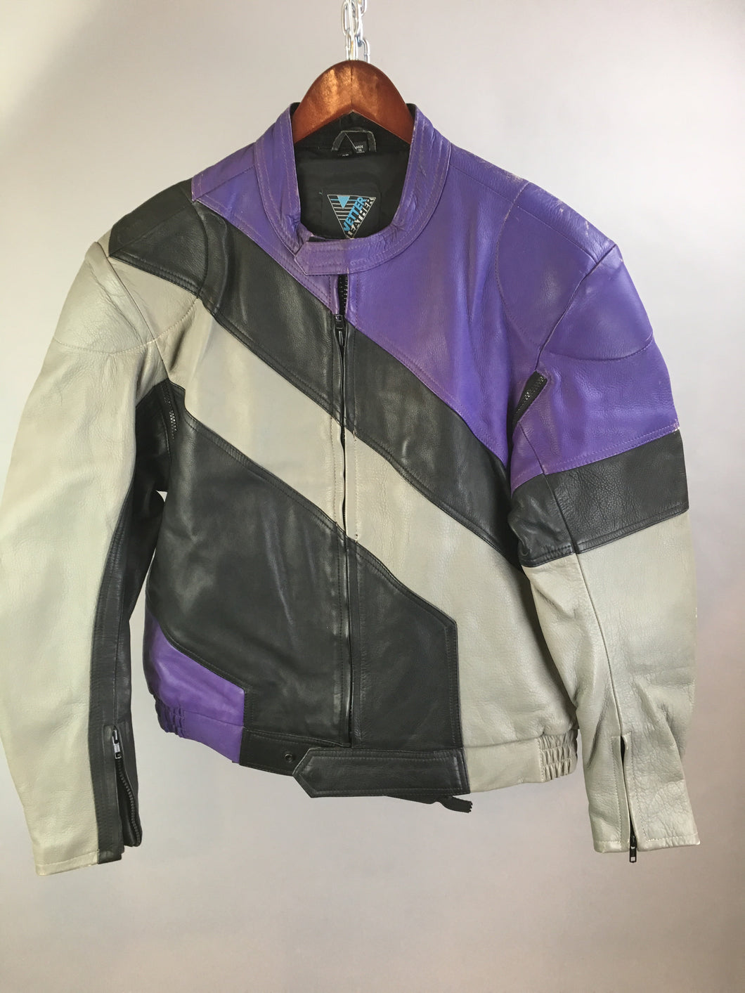 Vintage Leather Motorcycle Jacket// 80s Sport Bike Jacket// Purple and Gray Motorcycle Jacket(F1)