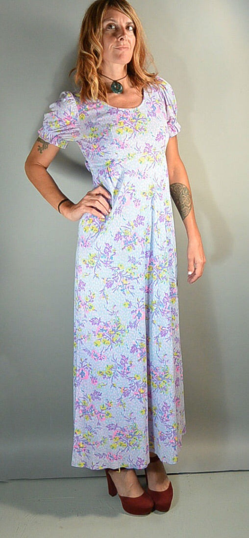 Purple 70s Maxi Dress// Princess Sleeve Long Dress// Festival Hippy Dress// Maxi 70s Dress Size Small (F1)