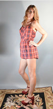 60s Playsuit// Vintage Swimsuit// Classic Romper Red Plaid (F1)