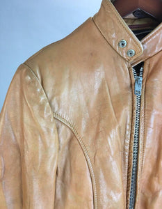 Awesome vintage mens motorcycle jacket// Light Brown Leather Motorcycle Jacket // 80s Leather jacket (F1)