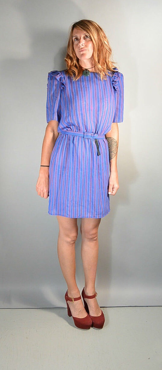 80s Valley Girl Dress// Purple Secretary Dress Puff Sleeves// Totally 80s Dress (F1)