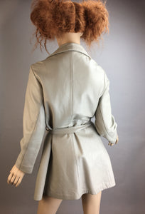Vintage 70s Leather Wrap Jacket// White/Gray Leather Jacket// Ladies Vintage Leather Jacket (F1)