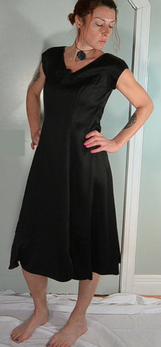 50s Black princess Dress//Satin Dress//Bow Dress//Circle Skirt Dress//Rockabilly Dress//50s Dress (F1)