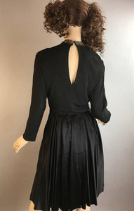 Vintage Cocktail Dress// 60s Party Dress// Black Satin Dress (F1)