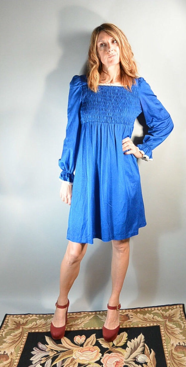Electric Blue Baby Doll Dress// 60s Smocked Dress// Empire Waist Dress (F1)