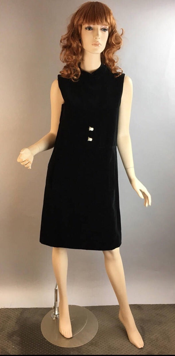Vintage Mod Party Dress// 60s Velvet Dress// Vintage Shift Dress (F1)