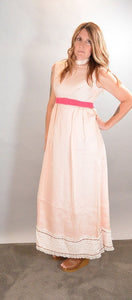 Pink Bridesmaids Dress// 60s Maxi Bridesmaids Dress// Empire Waist Dress (F1)