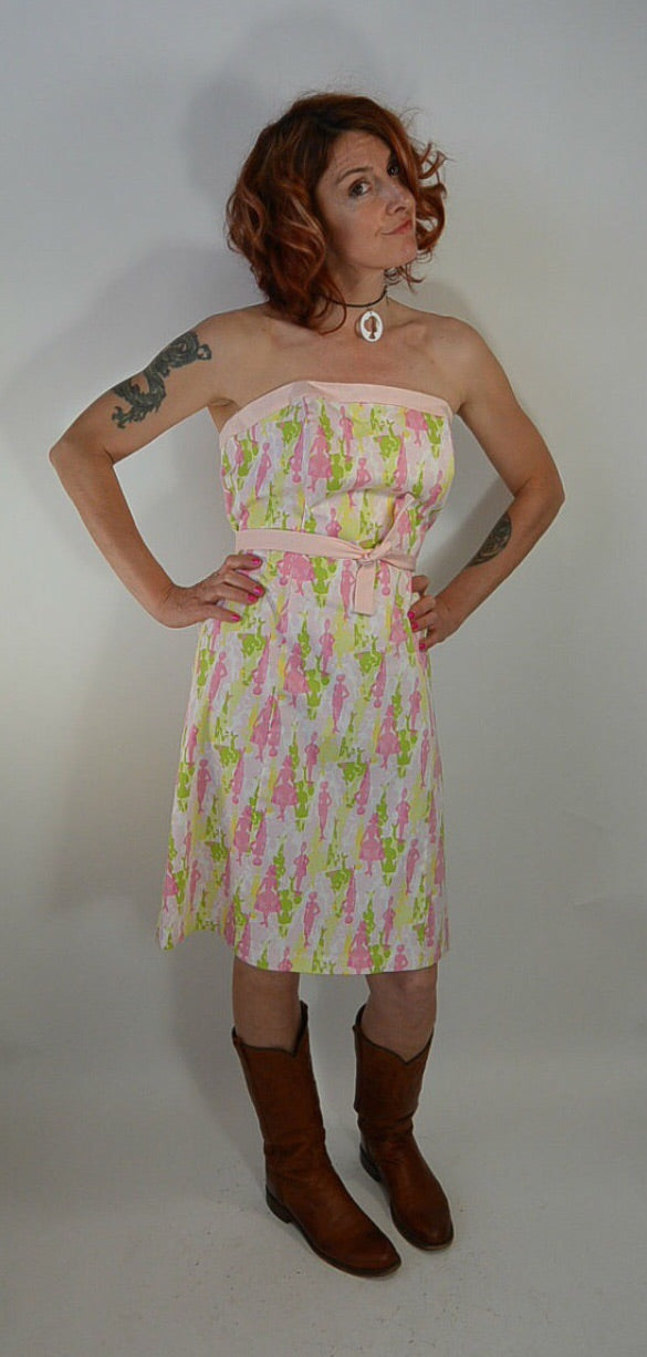 80s Preppy Dress//Strapless Dress//silhouette Dress//Pink Dress//Summer Dress (F1)