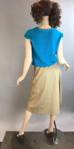 Vintage 80s Wrap skirt and Sweater// Totally 80s Apron Skirt and Turquoise Sweater// Vintage 80s Outfit (F1)