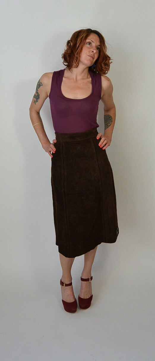70s Suede Skirt// Vintage Brown Suede Skirt// 70s Mid Calf Skirt (F1)
