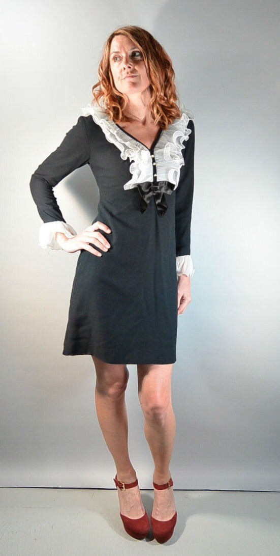 60s Mod Dress// Wendy Adams Dress// Tuxedo Style 60s Dress// Mad Men Dress (F1)