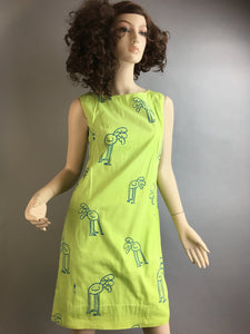 Vintage Mod Shift Dress// 70s Lime Green Dress With Ostrich Pattern// The Vested Gentress Dress (F1)