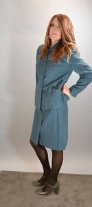 40s Skirt Suit// Rockabilly Jacket and Skirt Set// Baby Blue Wool Suit (F1)