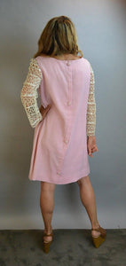 Mod Cotton Pink Dress// Mod 60s Dress// Ribbon Sleeve Shift Dress L (F1)