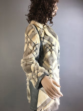 Vintage 70s Fur Coat// Leather and Fur Jacket// Real Fur Coat Checker Pattern (F1)