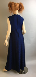 Vintage 70s Dress// 70s Maxi Dress// Navy Blue Maxi 70s Dress (F1)