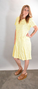 60s Does 20s Cotton Gingham Short Sleeve Dress with Matching Jacket// Flapper Dress Set (F1)