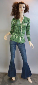 60s Green Cardigan// Vintage Wrap Sweater// Brady Bunch Sweater (F1)