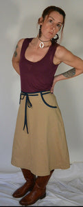 70s Wrap Skirt// Vintage 70s Skirt// Beige Canvas Wrap Skirt (F1)