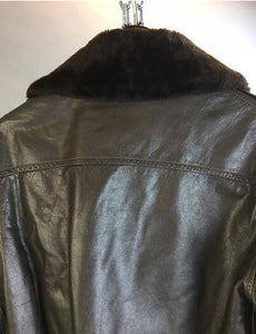 Vintage mens leather flight jacket// vintage mens Bomber jacket// military leather jacket 60s (F1)